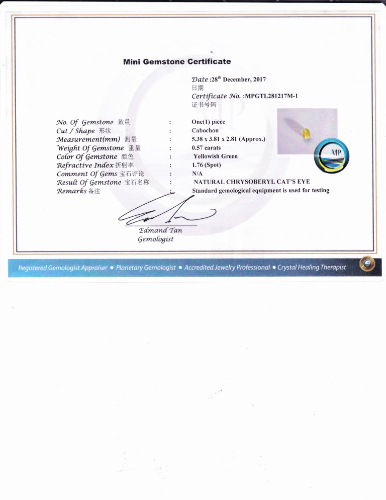 Mini Gemstone Certificate(Front Page)